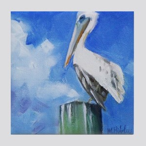 White Pelican Painting Tile Coaster