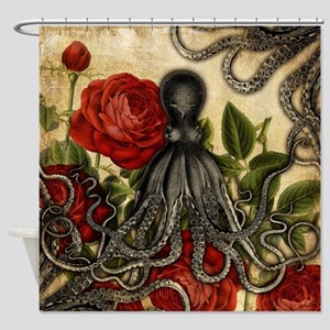 Tentacles And Roses Shower Curtain