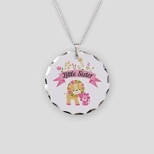Little Sister Lions Necklace Circle Charm