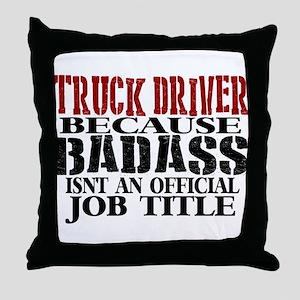 Badass Trucker Throw Pillow