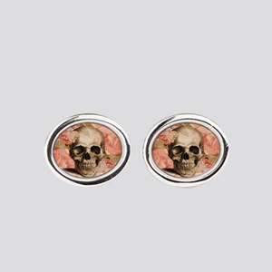 Vintage Rosa Skull Collage Oval Cufflinks