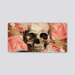 Vintage Rosa Skull Collage Aluminum License Plate