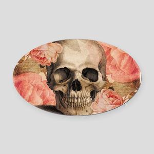 Vintage Rosa Skull Collage Oval Car Magnet
