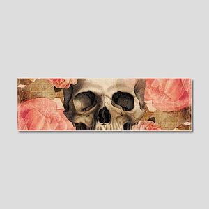 Vintage Rosa Skull Collage Car Magnet 10 x 3