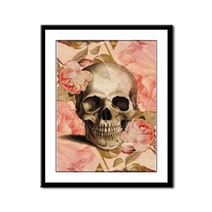 Vintage Rosa Skull Collage Framed Panel Print