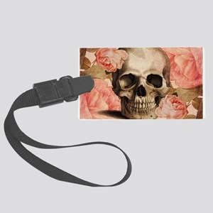 Vintage Rosa Skull Collage Luggage Tag