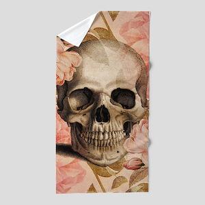 Vintage Rosa Skull Collage Beach Towel
