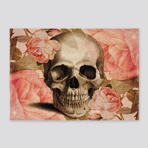 Vintage Rosa Skull Collage 5'x7'Area Rug