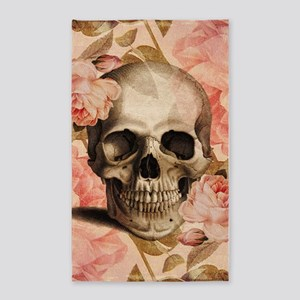 Vintage Rosa Skull Collage 3'x5' Area Rug