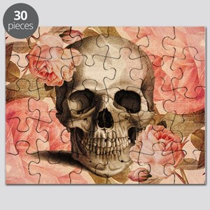 Vintage Rosa Skull Collage Puzzle