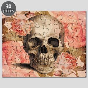 Vintage Rosa Skull Collage Puzzle