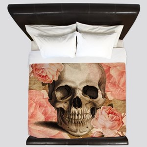 Vintage Rosa Skull Collage King Duvet