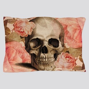 Vintage Rosa Skull Collage Pillow Case
