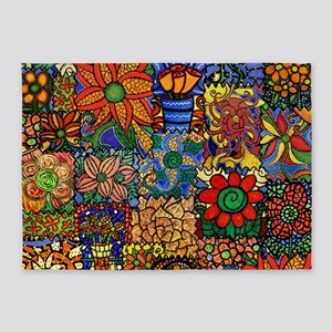 Colorful Floral Patchwork 5'x7'Area Rug