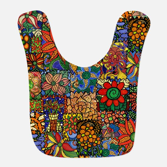 Colorful Floral Patchwork Polyester Baby Bib