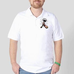 Marvel Comics Thor Hammer Retro Golf Shirt