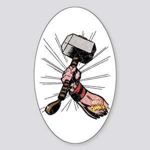 Marvel Comics Thor Hammer Retro Sticker (Oval)