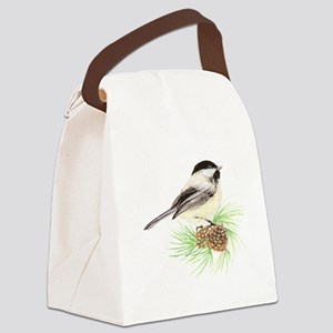 Chickadee Pine Canvas Lunch Bag