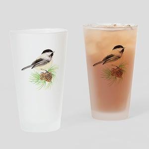 Chickadee Pine Drinking Glass