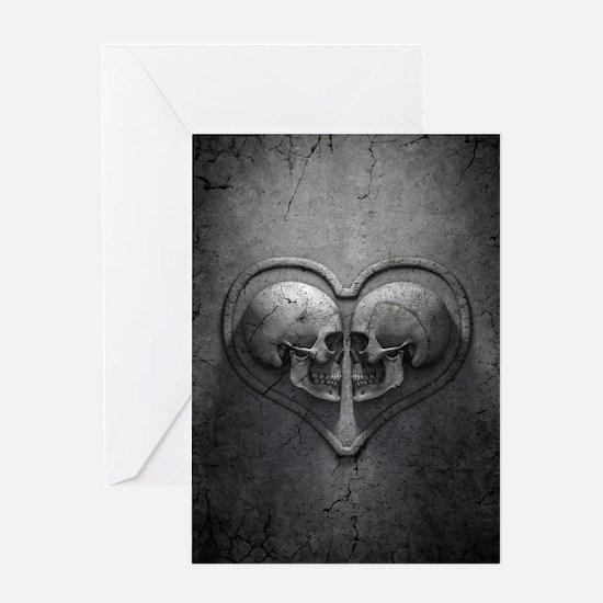 Gothic Skull Heart Greeting Card