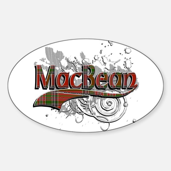 MacBean Tartan Grunge Sticker (Oval)