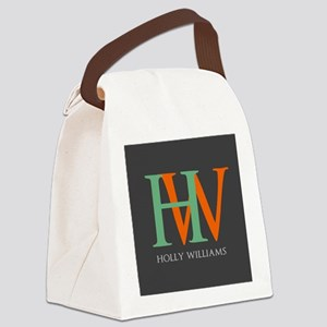 Large Monogram Personalized Canvas Lunch Bag