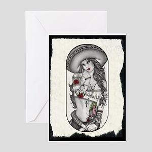 Border Girl Greeting Cards
