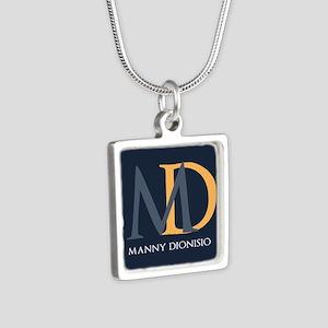 Elegant Custom Monogram Silver Square Necklace
