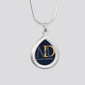 Elegant Custom Monogram Silver Teardrop Necklace