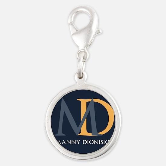 Elegant Custom Monogram Silver Round Charm