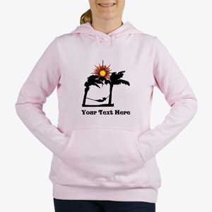 Palm Trees and Black Text. Women's Hooded Sweatshi