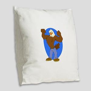 Bald Eagle Burlap Throw Pillow