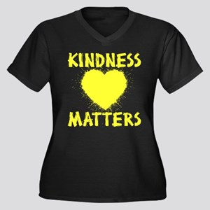 KINDNESS MAT Women's Plus Size V-Neck Dark T-Shirt