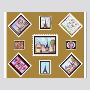 Paris Eiffel Tower inspired Postage Stamps maize P