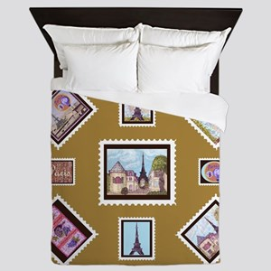 Paris Eiffel Tower inspired Postage Stamps maize Q