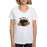 Autumn Flat Coated Retrieve Women's V-Neck T-Shirt