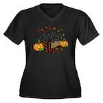 Autumn Flat Women's V-Neck Dark Plus Size T-Shirt