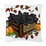 Autumn Flat Coated Retriever P Woven Throw Pillow