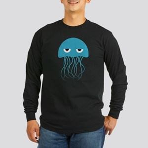 Angry Blue Jellyfish Long Sleeve T-Shirt