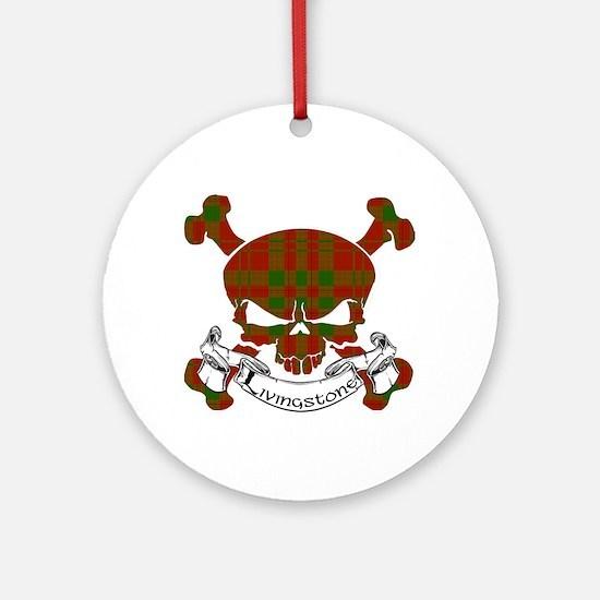 Livingstone Tartan Skull Ornament (Round)