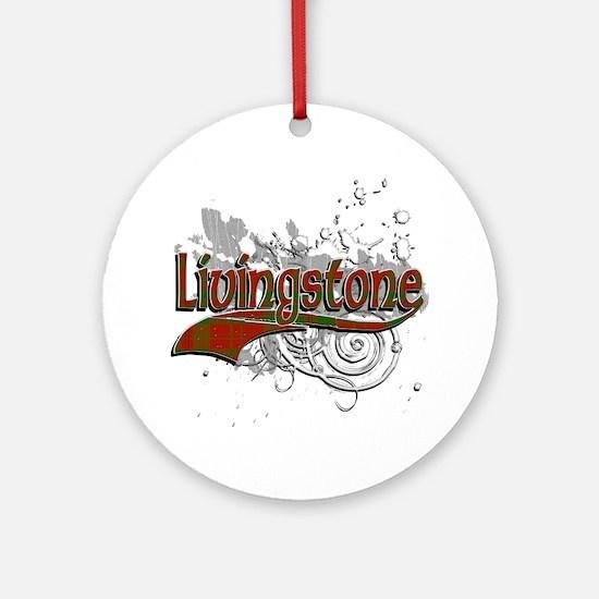 Livingstone Tartan Grunge Ornament (Round)