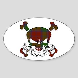 Lindsay Tartan Skull Sticker (Oval)