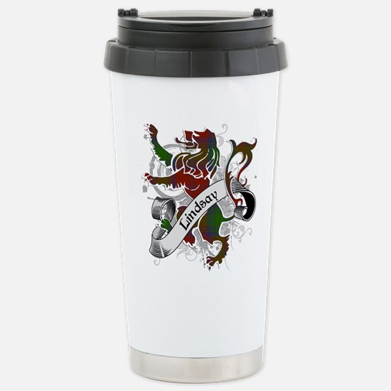 Lindsay Tartan Lion Stainless Steel Travel Mug