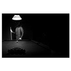 Mystery Pool Player Behind Rack Of Billiard Balls Poster