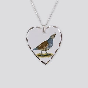 Texas Scaled Quail Necklace Heart Charm