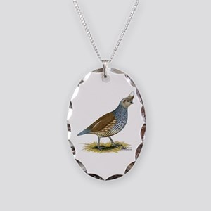 Texas Scaled Quail Necklace Oval Charm