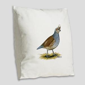 Texas Scaled Quail Burlap Throw Pillow