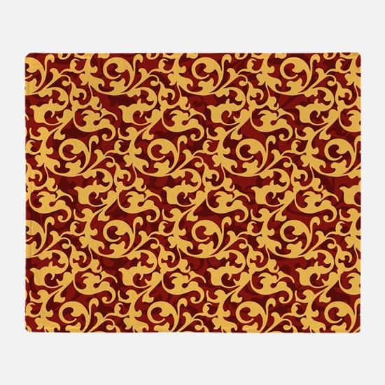 Elegant Baroque Red Gold Swils Throw Blanket