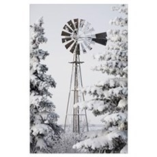 Old Windmill And Trees Covered With Snow And Frost Poster