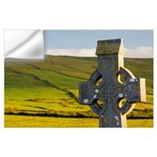 Celtic Cross In A Cemetery; Fanore, County Clare,  Wall Decal
